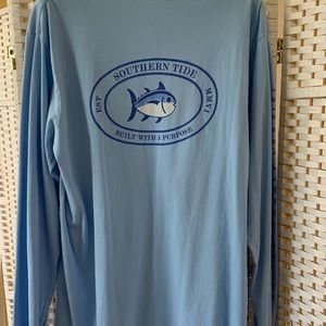 Southern Tide Long Sleeve Tee-Light Blue
